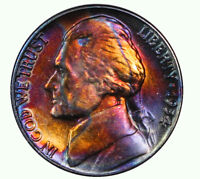 1954-D JEFFERSON NICKEL BEAUTIFULLY TONED AND UNCIRCULATED.  ONE OF A KIND.