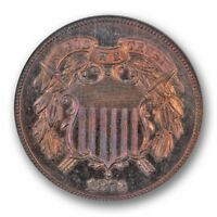 1873 CLOSED 3 TWO CENT PIECE 2C NGC PR 66 RB RED BROWN CERT61004