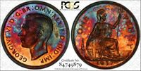 WILD 1937 GREAT BRITAIN PCGS PR64RB RAINBOW TONED PROOF 1D S