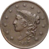 1837 CORONET CENT-- LOOKING EXTRA FINE