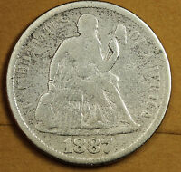 1887-S SEATED LIBERTY DIME.  V.G. DETAIL.  91938