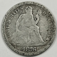 1876-S  SEATED LIBERTY DIME.  G.-V.G.  91078