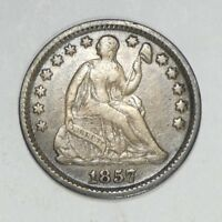 1857 LIBERTY SEATED HALF DIME WITH STARS  FINE SILVER 5C