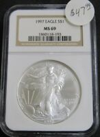 1997 AMERICAN SILVER EAGLE 1OZ .999 FINE SILVER COIN NGC MINT STATE 69