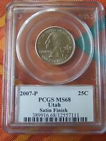 2007-P UTAH STATE QUARTER PCGS MINT STATE 68 SATIN FINISH      HIGH GRADE COIN