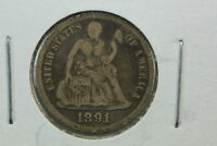 1891 SEATED DIME VG