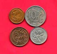 AUSTRALIA 4 DIFF DIFFERENT 1966 1981 OLD CIRCULATED COIN LOT COLLECTION SET