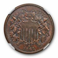 1864 LARGE MOTTO TWO CENT PIECE 2C NGC MINT STATE 63 BN SUPERIOR STRIKE PRETTY