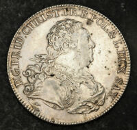 1763 SAXONY/POLAND FREDERICK CHRISTIAN. LARGE SILVER THALER COIN. 1 YEAR TYPE