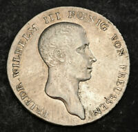 1814 KINGDOM OF PRUSSIA FREDERICK WILLIAM III. LARGE SILVER THALER COIN. XF