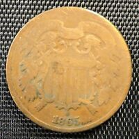 1865 UNITED STATES TWO CENT PIECE 2 COIN LOT 3 @F