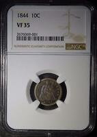 1844 NGC VF35 SEATED LIBERTY DIME PRE- CIVIL WAR  90 SILVER COIN SHIPS FREE