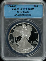 2004 W AMERICAN SILVER EAGLE $1 ANACS CERTIFIED PR 70 PROOF DCAM DEEP CAM  004
