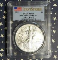 2011 PCGS MINT STATE 69 FIRST STRIKE SILVER EAGLE DOLLAR FROM 25TH ANNIVERSARY SET
