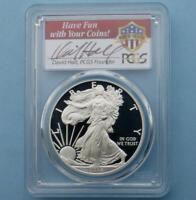 2013 W PCGS PROOF 70 D-CAMEO AMERICAN SILVER EAGLE DAVID HALL SIGNED, POP 22