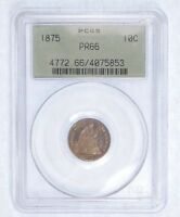 1875 SEATED LIBERTY DIME CERTIFIED PCGS PROOF 66 SILVER 10C  OLD GREEN HOLDER