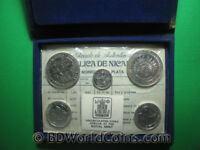 1975 NICARAGUA  5  COINS SILVER BU MINT SET MS2 EARTHQUAKE RELIEF ISSUE BOX COA