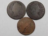 3 NO DATE COLONIAL COPPER COINS.  10
