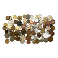 LOT OF 100 MIXED JUNK WORLD COINS STAINED DIRTY BENT WORN OUT ETC.
