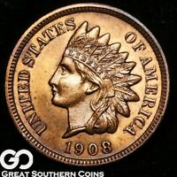 1908 S INDIAN HEAD PENNY MOSTLY RED GORGEOUS SUPERB GEM BU