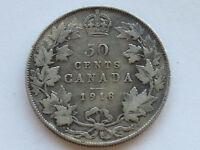 1918 CANADA GEORGE V SILVER 50 CENTS CANADIAN COIN D3716