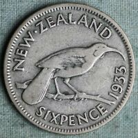 NEW ZEALAND. SILVER 6 PENCE 1933. KING GEORGE V  COMBINED S.& H.