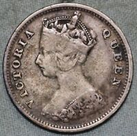HONG KONG 1901 SILVER 10  CENTS   QUEEN VICTORIA  COMBINED S. & H.