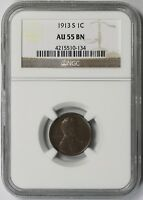 1913-S LINCOLN WHEAT CENT 1C AU 55 BN BROWN NGC