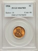 1926 US LINCOLN WHEAT CENT 1C - PCGS MINT STATE 67 RD