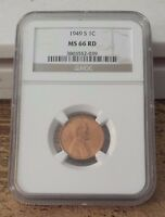 1949 S LINCOLN PENNY MINT STATE 66 RED NGC GRADED & ENSCAPULATED GOLD STRIPE CASE