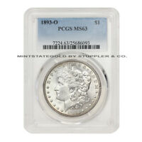 1893-O $1 MORGAN PCGS MINT STATE 63 CHOICE GRADED  NEW ORLEANS SILVER DOLLAR COIN