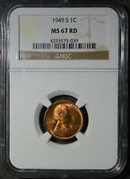 1949-S NGC MINT STATE 67 RD LINCOLN CENT WHEAT CENT  SUPERB GEM 39 COPPER SHIPS FREE