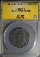 1812 VF30 LARGE CENT CLASSIC HEAD  COPPER ANTIQUE PENNY 1C COIN SHIPS FREE