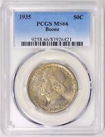 1935 BOONE SILVER HALF DOLLAR COMMEMORATIVE MINT STATE 66 PCGS .. MINTAGE OF 10,010