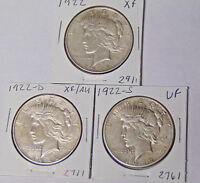 YEAR SET OF 3 PEACE SILVER DOLLARS 1922 1922-D 1922-S VF AND EXTRA FINE  COINS