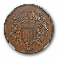 1864 LARGE MOTTO TWO CENT PIECE NGC AU 58 ABOUT UNCIRCULATED US TYPE COIN