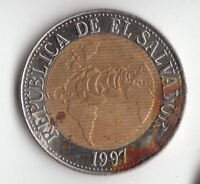 EL SALVADOR 5 COLONES 1997       245P     BY COINMOUNTAIN