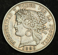 1880 PERU  REPUBLIC . LARGE SILVER 5 PESETAS COIN. VARIETY WITH DOT AFTER B