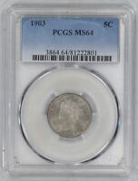 1903 LIBERTY V NICKEL 5C  PCGS CERTIFIED MINT STATE 64 MINT STATE UNCIRCULATED 801
