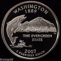 2007 S STATE QUARTER WASHINGTON GEM PROOF DEEP CAMEO COPPER NICKEL CLAD COIN