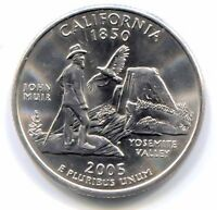 2005 D CALIFORNIA JOHN MUIR YOSEMITE PARK STATE QUARTER COIN   DENVER MINT