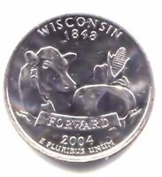 WISCONSIN CORN COW AND CHEESE FORWARD STATE QUARTER 2004 D COIN   DENVER MINT