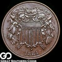 1864 TWO CENT PIECE, SMALL MOTTO,   CHOICE UNCIRCULATED/BU KEY DATE