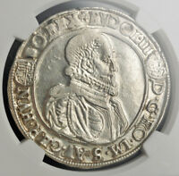 1587/77 HUNGARY RUDOLPH II. SILVER THALER COIN. KREMNITZ  OVERDATE  NGC AU55