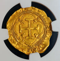 1555 CHARLES & JOANNA OF SPAIN. GOLD ESCUDO COIN. SEVILLE MINT  NGC AU 58