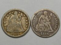 2 F/VF US SEATED LIBERTY DIMES: 1852 & 1886.  29