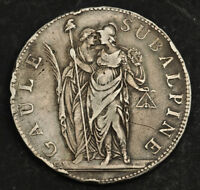 1801 PIEDMONT SUBALPINE REPUBLIC  NAPOLEONIC STATE . SILVER 5 FRANCS COIN. VF