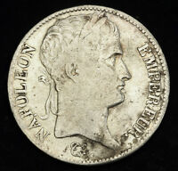 1808 FRANCE  1ST EMPIRE  NAPOLEON I. LARGE SILVER 5 FRANCS COIN. AVF
