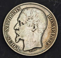1852 FRANCE  2ND REPUBLIC  LOUIS NAPOLEON  PRESIDENT . SILVER 5 FRANCS COIN.