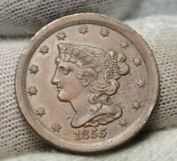 1855 BRAIDED HAIR HALF CENT -  ONLY 56,500 MINTED .  COIN 6988